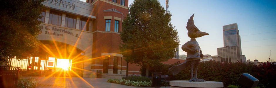 Outdoor photo of the sun setting on campus