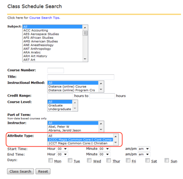Class Search by Attribute