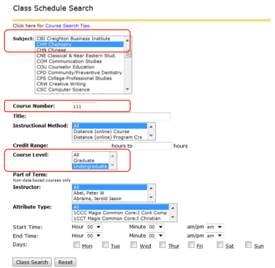 Class schedule search (NEST)